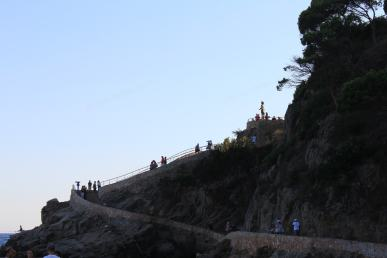 Stairs and sculpture Marinera in Lloret de Mar