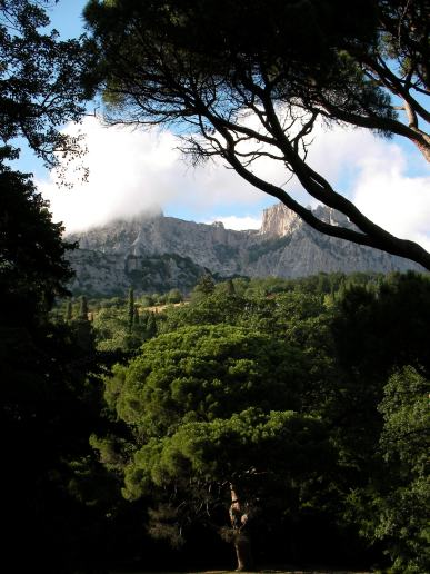 Предиван поглед Кримског планинама кроз дрвеће и облаци