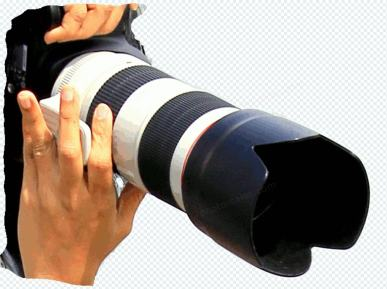 Camera with large lens in hands, transparency – GIF