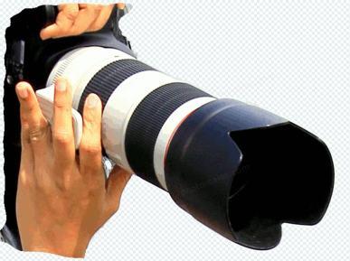 Kamera su dideliu objektyvu rankose, skaidrumo – GIF