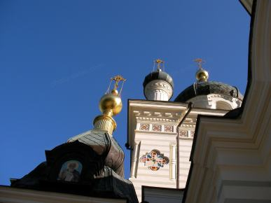 Church facade katika Crimea karibu Foros