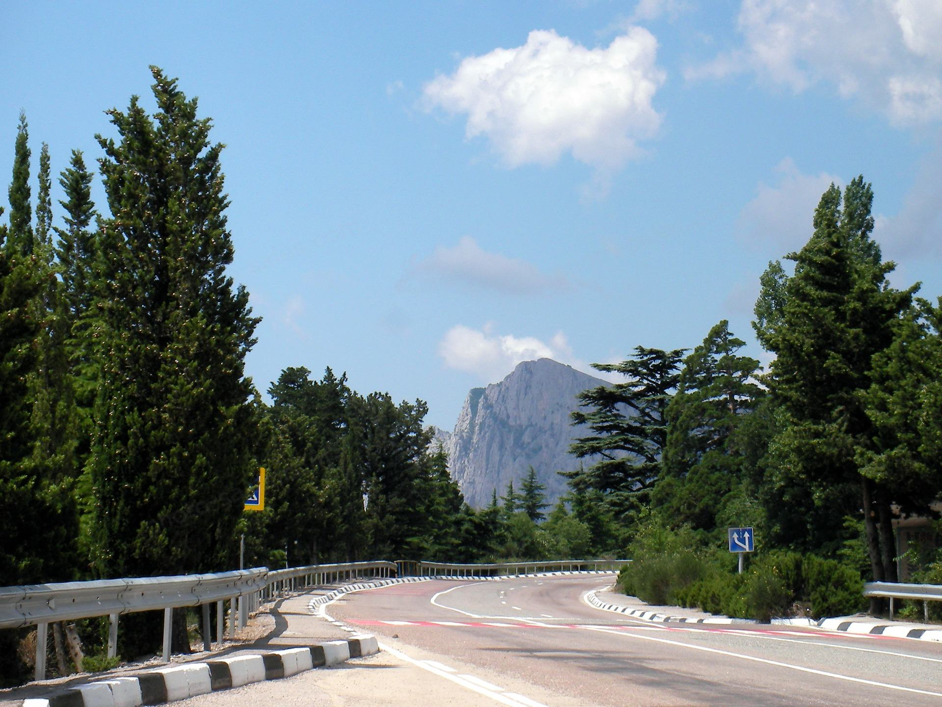 เทือกเขาถนนระหว่างต้นไม้และท้องฟ้ามีเมฆมาก