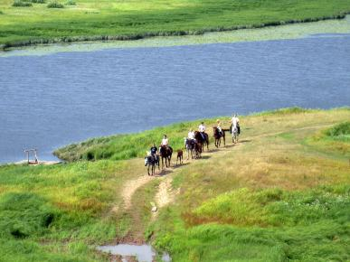 People walking along the shore of the lake on horses