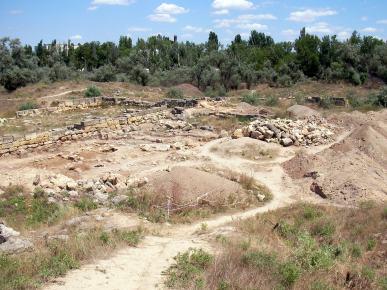 Den antika grekiska bosättningen nära Jevpatorija i Krim